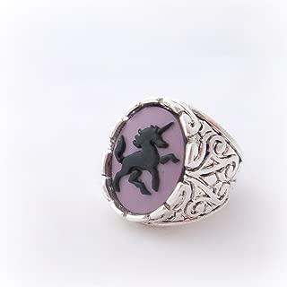 Purple unicorn cameo signet ring, gothic fantasy statement ring