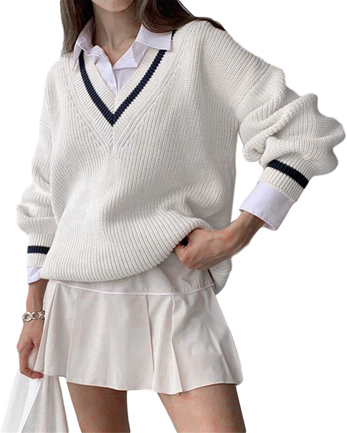 Womens Girls Ranking TOP12 Sweater Branded goods Y2K Argyle B Preppy Tops Knit Color