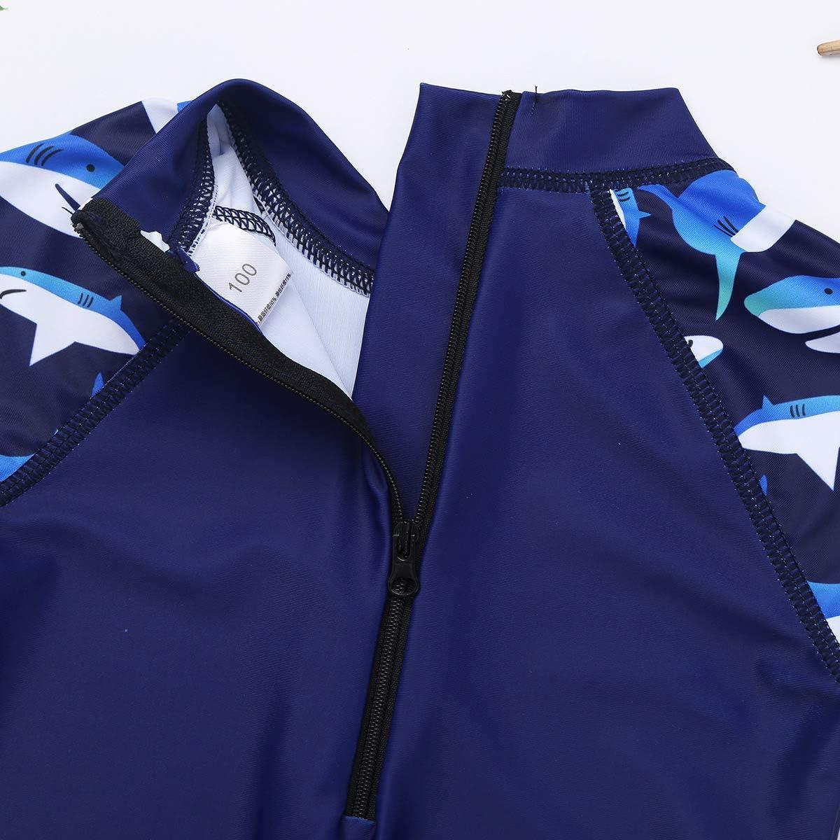 TiaoBug Kids Boys Girls Rash Guard Set UPF 50+ Shark Swimsuit One-Piece Jumpsuit Swimwear Bathing Suit