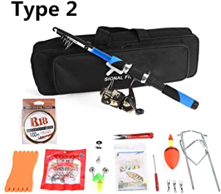 Telescopic Fishing Rod Reel Combo Full Kit Spinning Reel Rod Lure with Fishing Scissors..