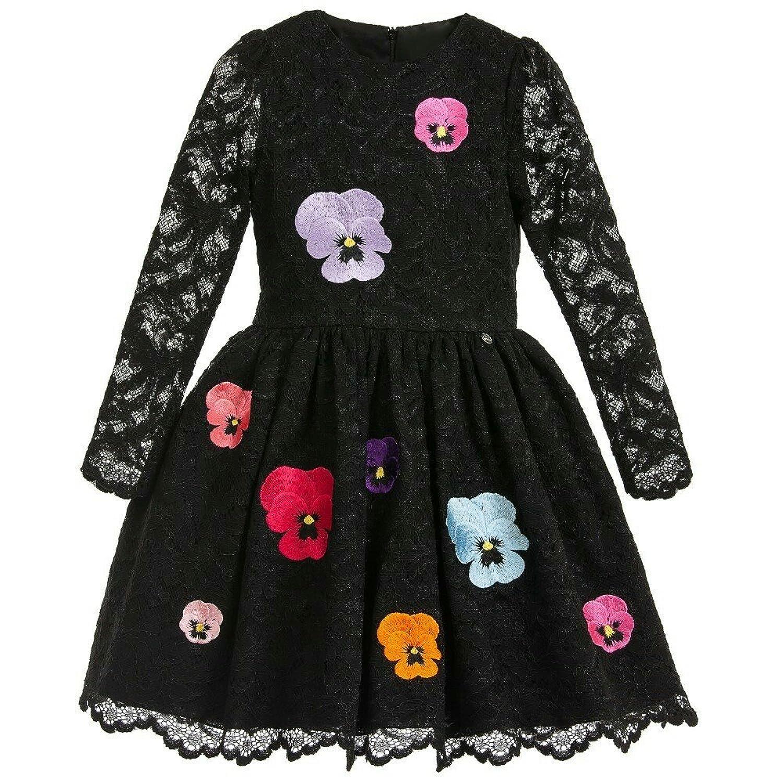 (チェリーレッド) CherryRed 子供服 フォーマルドレス 黒色 大きいお花 刺繍 プリンセス