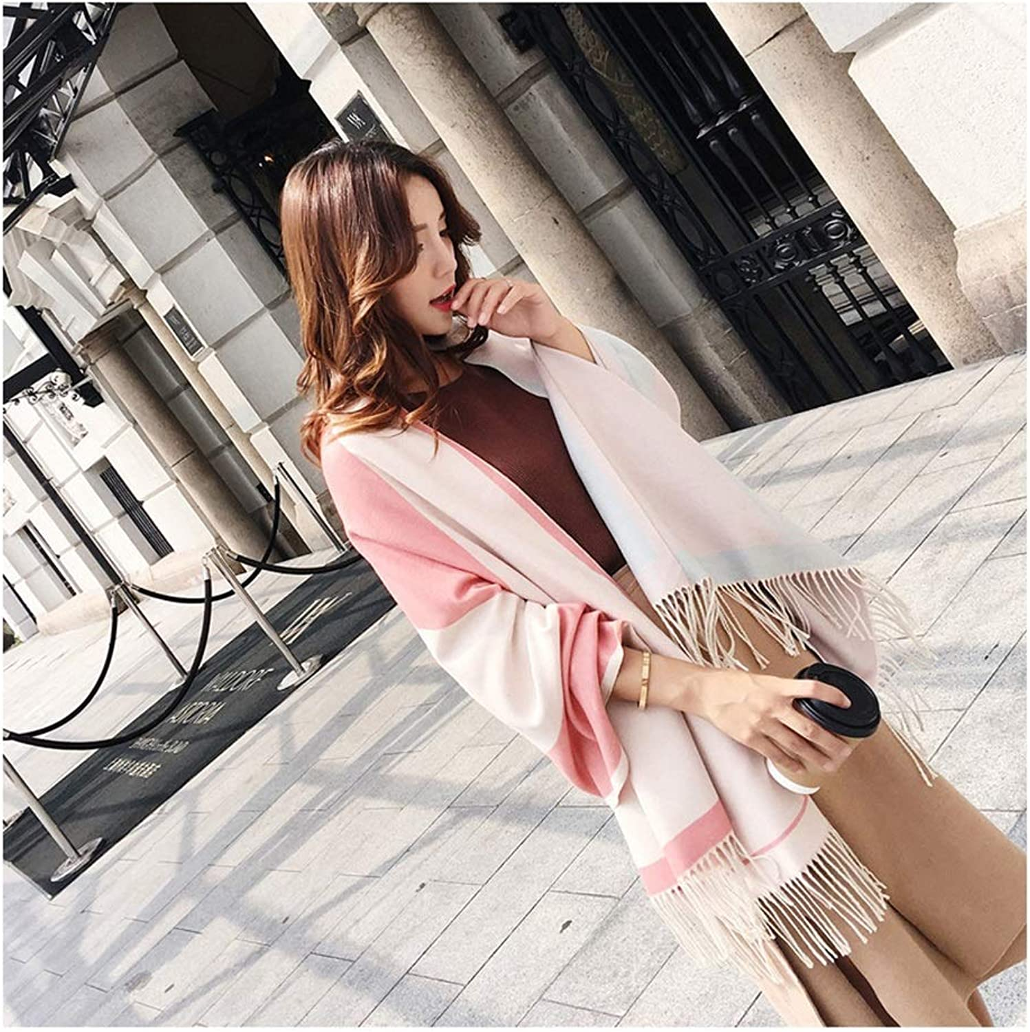 Scarf Winter Scarf Ladies Thicken Long Scarf Saussurea CashmereLike DoubleSided Scarf Warm Scarf (color   B)