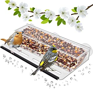 HHXRISE Acrylic Bird Feeder with Strong Suction Cups & Seed Tray,Window Outdoor Birdfeeders with Large Standing Perch (11.8 x 5.9 x 2'')