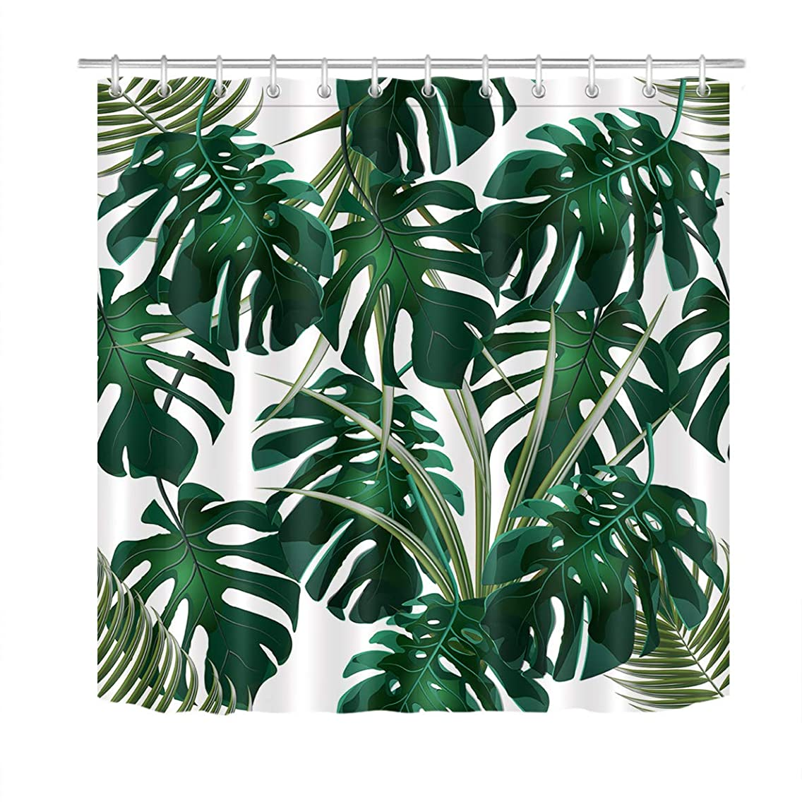 LB Jungle Thickets of Tropical Palm Leaves Shower Curtain Set Dark Green Monstera Bathroom Curtain with Hooks Kids Adults Bathroom Decorations 72x72 inch Waterproof Polyester Fabric