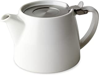FORLIFE Stump Teapot with SLS Lid and Infuser, 18-Ounce, White