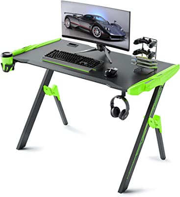 GALAXHERO Gaming Desk, 46.8'' Computer Gaming Desk with Audio Sensor RGB LED Lights, R Shaped Gamer Table with Cup Holder, Curved Front, Headphone Hook and Mouse pad, Green