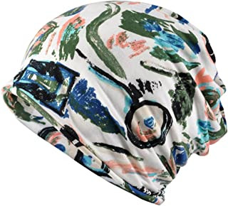 Jemis Womens Cotton Chemo Hat Beanie Scarf - Beanie Cap Bandana for Cancer (Green and White)