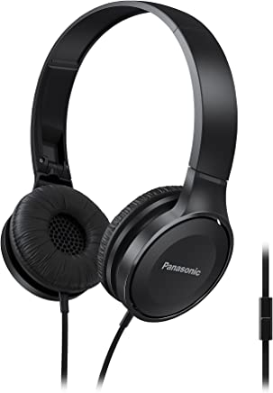 Panasonic On Ear Stereo Headphones RP-HF100M-K with Integrated Mic and Controller, Travel-Fold Design, Matte Finish, Black