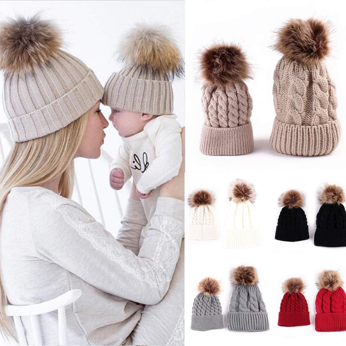 SANON Eltern-Kind-Hut Mutter-Kind-Baby Warme Winterstrickm/ütze Pelz Pom Hut Geh/äkelte Skim/ütze f/ür Frauen /& Baby