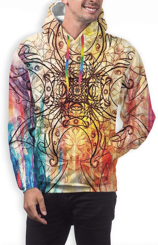 Men's Hoodies Sweatshirts,Ornate Oriental Flowers Pattern Dots Rhombuses Abstract Blooming Nature