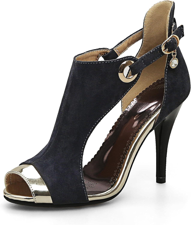 AIWEIYi Womens Peep Toe Stiletto High Heel Ankle Strap Strappy Sandals Grey