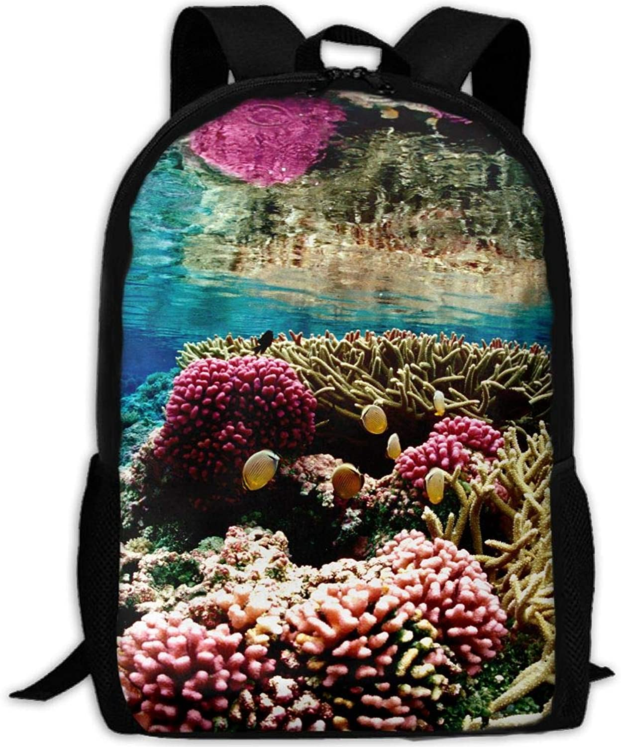 Adult Backpack Coral Print College Daypack Oxford Bag Unisex Business Travel Sports Bag Adjustable Strap