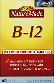 (3 Pack)-Nature Made Maximum Strength Vitamin B-12 Soft gel, 5000 mcg, 60 Count each