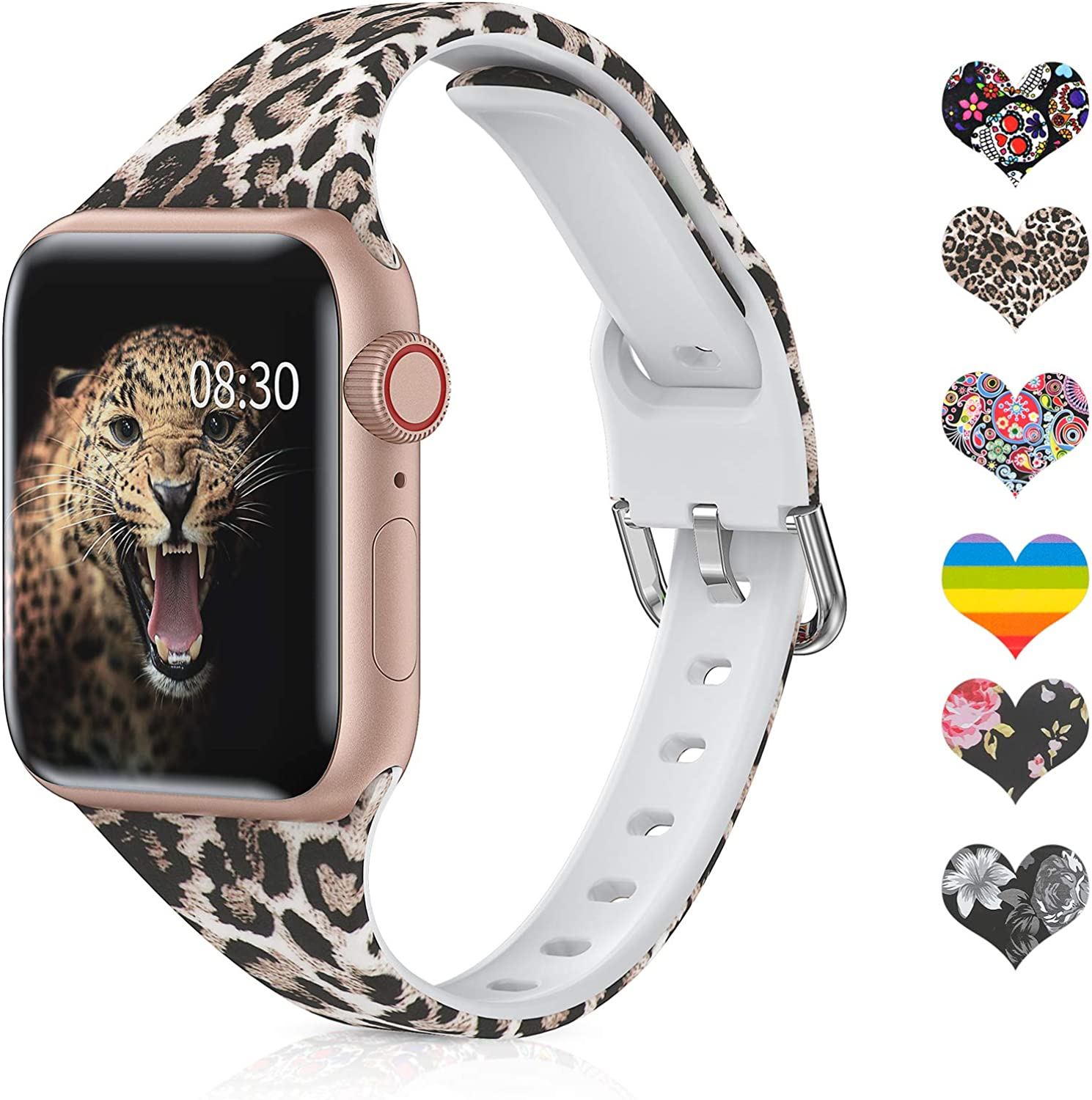 Moolia Slim Printed Pattern Band Compatible with Apple Watch Band 38mm 40mm, Soft Silicon Floral Fadeless Women Narrow Replacement Strap for iWatch Series 6/5/4/3/2/1/SE