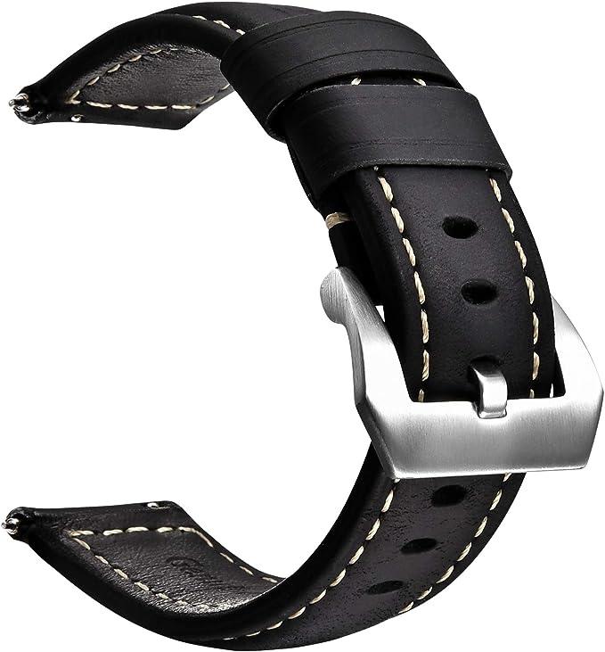 59 opinioni per Cinturino per Orologio a Sgancio Rapido con Fibbia in Vera Pelle e Acciaio