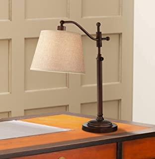 Adley Downbridge Style Desk Table Lamp Adjustable Height Bronze Metal Tan Linen Look Shade for Living Room Bedroom Bedside Nightstand Office - Regency Hill