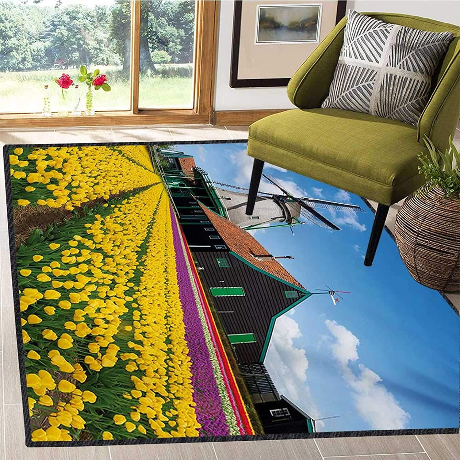 Windmill, Door Mats for Inside, Rustic Dutch Landscape with colorful Yellow Tulips in The European Countryside, Door Mats for Inside Non Slip Backing 6x7 Ft Multicolor