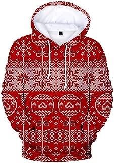 Holzkary Women's Christmas 3D Print Hooded Pullover Loose Long Sleeve Sweatshirt Hoodies