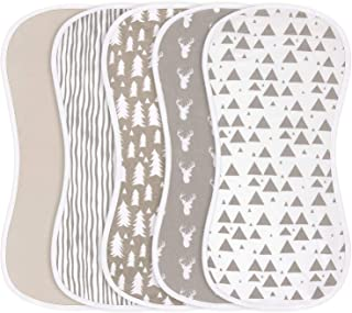 Burp Cloths for Baby Boys and Girls - 5 Pack 100% Combed Cotton Baby Burp Set, Extra Absorbent &...