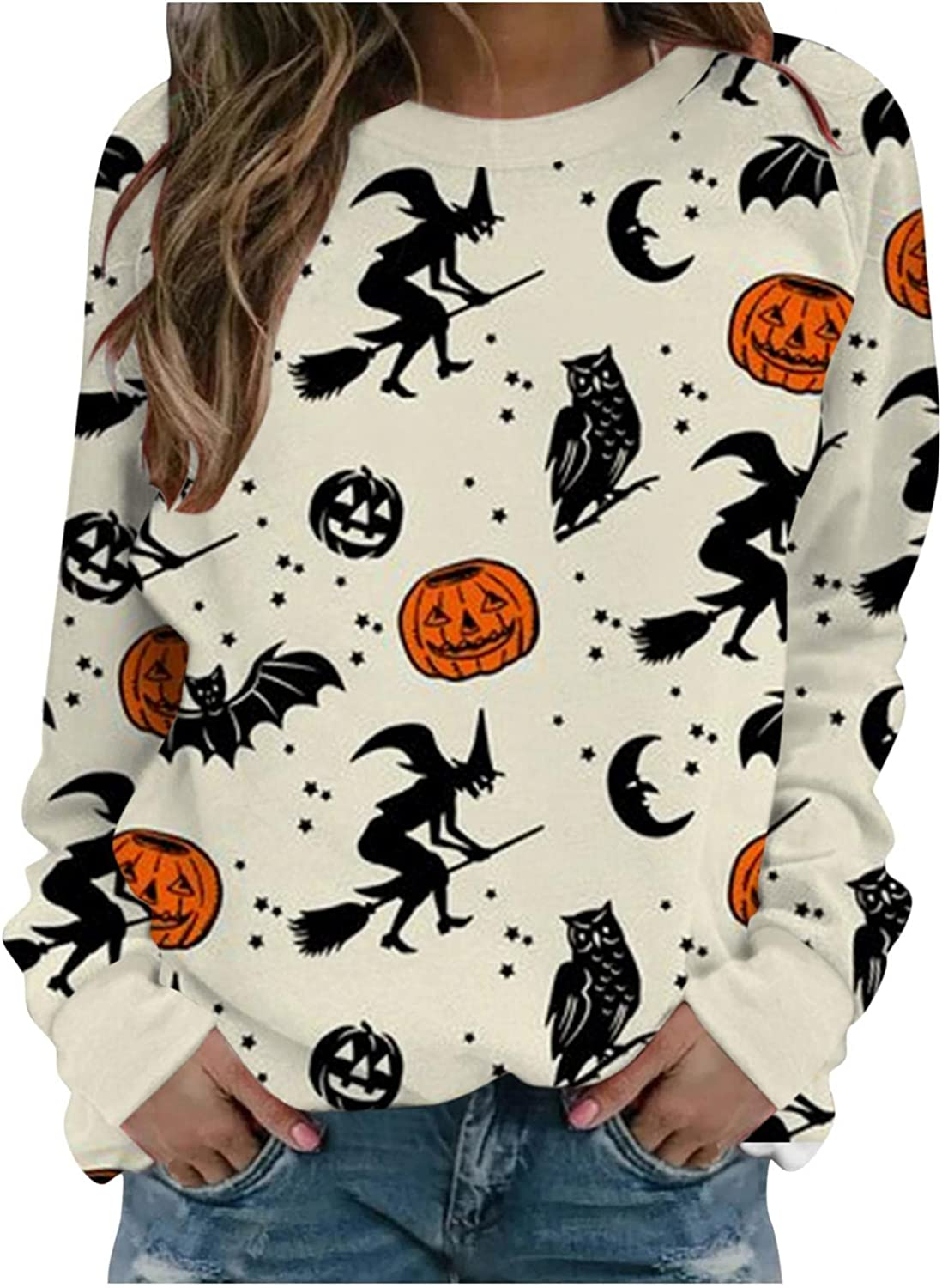 Special sale item Store Xudanell Sweaters for Women Halloween Bat Graphic Long Sle Print