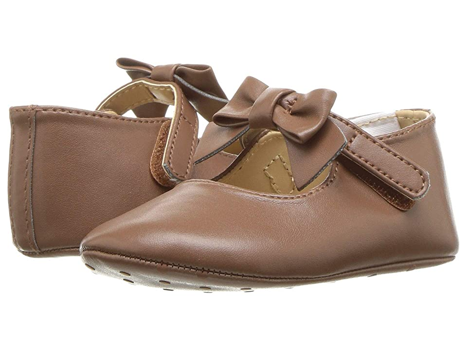 Janie and Jack Faux Leather Bow Ballet (Infant) (Brown) Girl