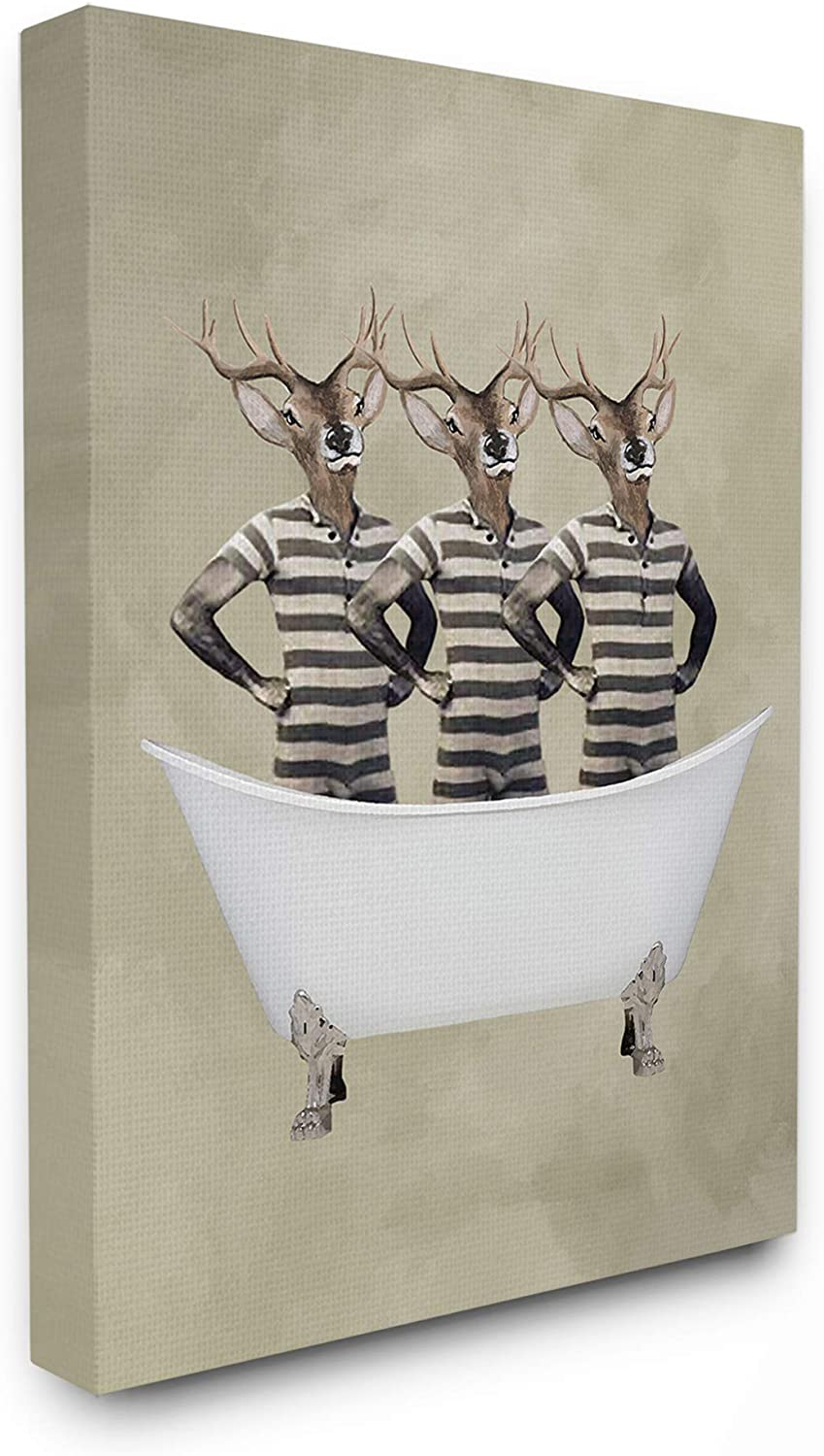 The Stupell Home Decor Three Deer Men in a Bathtub Stretched Canvas Wall Art, 16x20, Multicolor