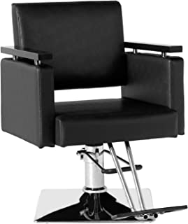 SUNCOO Barber Chair Heavy Duty Hydraulic Rotatable Beauty Tattoo Hair Stylist Salon Equipement Shampoo with Pedal Wood Armrest Square Chassis Black