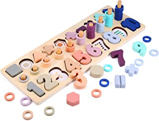 Voamuw Wooden Number Puzzle Shape Sorter Game for Toddlers Over 2 Years Old Counting Toys Preschool Education Learning Addition Subtraction Multiplication Division for Kids Math Puzzle Stacking Board