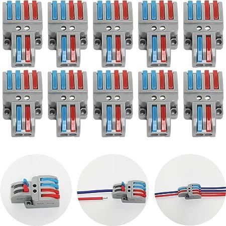 CTRICALVER Lever-Nut Surtidas Conector Paquete de 10, Bloque de Terminales de Barra de Presión Bilateral, 2 en 4 fuera Conductor Compacto Cable Conector,Con tornillos de montaje