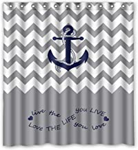KXMDXA Infinity Live the Life You Love, Love the Life You Live.Gray White Chevron Zig Zag Pattern With Anchor Navy Waterproof Polyester Bath Shower Curtain Size 60x72 Inch