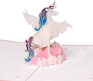 Tarjeta de felicitación, diseño de unicornio 3D, ideal para cumpleaños, aniversarios, graduaciones, bodas y Navidad