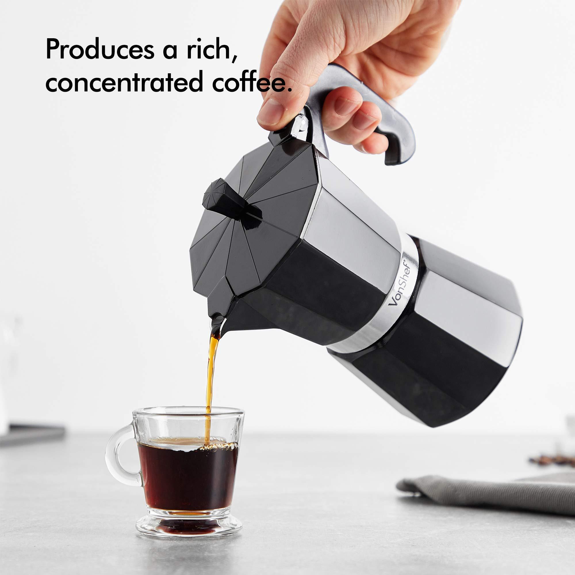 VonShef Cafetera Espresso Italiana Macchinetta Moka de 3/6/9/12 Tazas Incluye un Filtro y un Sello de Recambio (6 Tazas): Amazon.es: Hogar