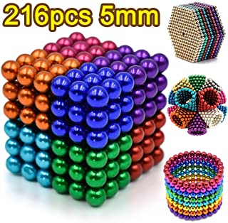 5MM 216 Pieces Magnetic Sculpture Magnet Building Blocks Fidget Gadget Toys for Stress Relief, Office and Home Desk Toys for Adults (8 Colors)