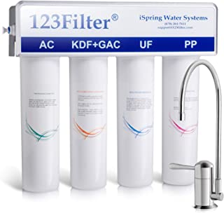 iSpring CU-A4 4-Stage High Capacity Under Sink Drinking Water Filtration System with Sediment, UF, KDF, and Activated Carbon Filtration Media