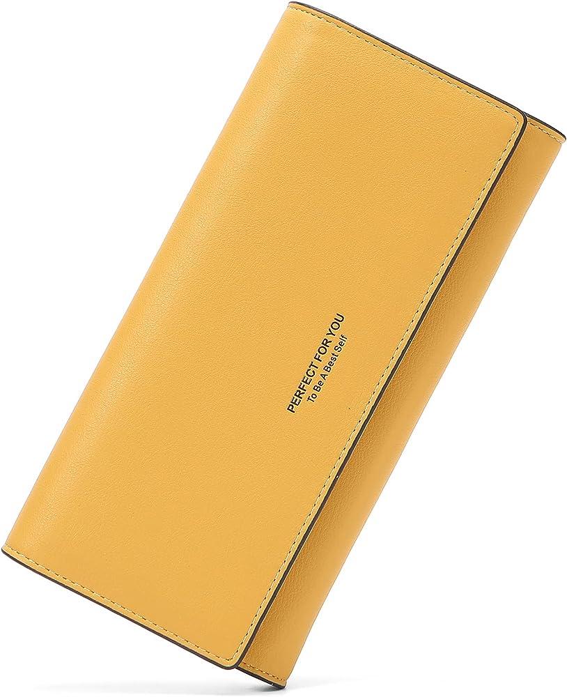 Lifeeasy, portafoglio, porta carte di credito, multitasche, in pelle, giallo