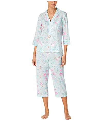 LAUREN Ralph Lauren Petite Classic Wovens 3/4 Sleeve Notch Collar Capri Pants Pajama Set (Mint Floral) Women