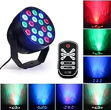 RGB DJ Stage Lights, Portable 18 LEDs Flat Par Light, DMX 512 IR Remote Control Sound Activated Projector Lamp for Party Bar Club Dsico KTV Wedding Pub Church Effect Up Lighting Show (RGB par light)
