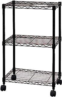 アイリスオーヤマ メタルラック 3段 ブラック ポール径19mm 幅44.5×奥行32.5×高さ72cm キャスター付 CBM-44073