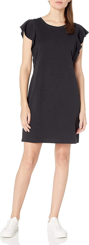 Amazon Brand - Goodthreads Women's Relaxed Fit Heavyweight Cotton Slub Ruffle Sleeve Dress