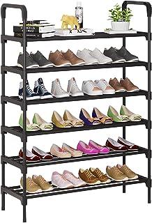 UDEAR Étagère à chaussures en métal à 6 niveaux, étagères de rangement sur pied avec capacité pour 24 à 28 paires de chaus...