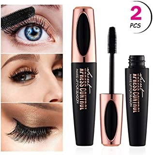 4D Silk Fiber Eyelash Mascara, Natural Thick Thickening & Lengthening Lash Mascara, Long Lasting, Waterproof & Smudge-Proof, All Day Exquisitely Lush, Full, Long, Thick, Smudge-Proof Eyelashes - 2Pcs