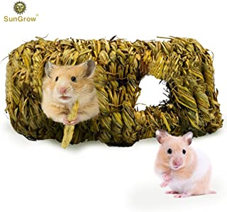 SunGrow Straw House with Open Entrance, Lightweight, Durable Home for Pocket Pets, Use Upside Down or Right Side Up, Suitable for Rats, Mice, Hamster, Ferrets and Gerbils