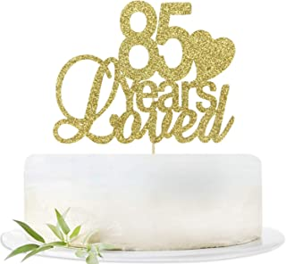 Glitter Gold 85 Years Loved Cake Topper-85th Birthday Wedding Party Decorations Supplies-Eighty-five Birthday or Wedding Party Sign.