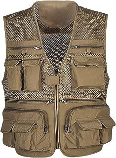 Iuhan Men Vest Outdoor Multi-Pocket Mesh Sleeveless Vest Thin Photography Fishing Zipper Vest Top Multifunctional Outwear