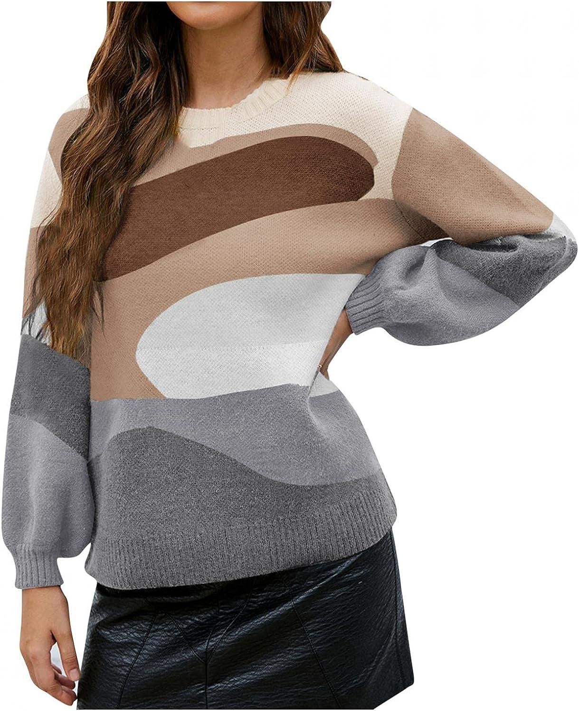 Hemlock Women Color Block Sweaters Fall Print Knit Pullover Tops Long Sleeve Sweater Outwear Blouse
