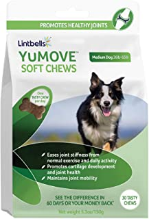 YuMOVE Joint Supplement for Dogs - Glucosamine, Green Lipped Mussel, Omega 3, Chondroitin, Hyaluronic Acid - Natural Relief from Hip Ache, Stiff Joints, Inflammation - 30 Chewable Tasty Chews