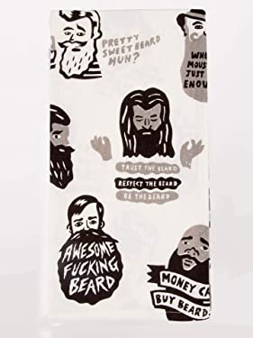 Blue Q Dish Towel, Awesome Fucking Beard, Screen-Printed with Water-Based Inks, 100% Cotton, 28 by 21 Inches (WW329)