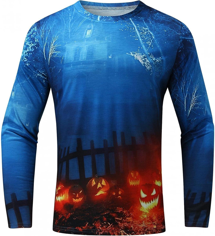 PHSHY Halloween Men's 3D Graphic Printed Tops Pumpkin Bat Skull Lightweight Long Sleeve Funny Oversized Muscle T Shirts