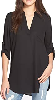 Women's Roll Tab Sleeve Tunic, Perfect Long for Leggings Shirt Cute Versatile Top