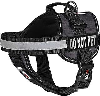 """صدرية للكلاب من دوج لاين مع رقعتين قابلتين للإزالة بعبارة """"Do Not Pet""""، مقاس كبير/71 سم إلى 96 سم، لون أسود"""